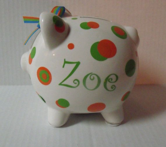 must remember this - Personalized Polka Dot Large Piggy Bank by Snappydotgifts