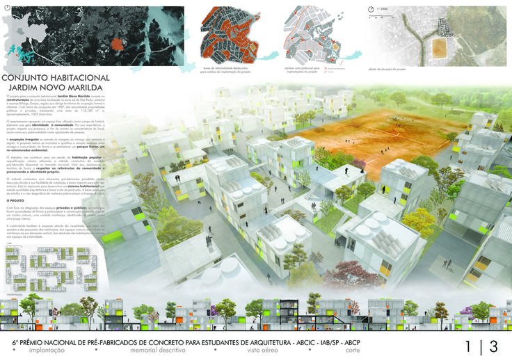 6º Prêmio Pré-Fabricados para Estudantes - 2° Lugar - Conjunto Habitacional Jardim Novo Marilda / Guilherme Bravin, Livia Baldini, Maria Fernanda Basile, Marcelo Venzon