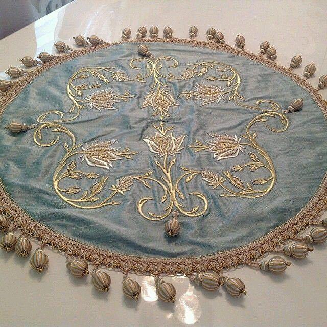 Elegant Embroidered Rose Table |