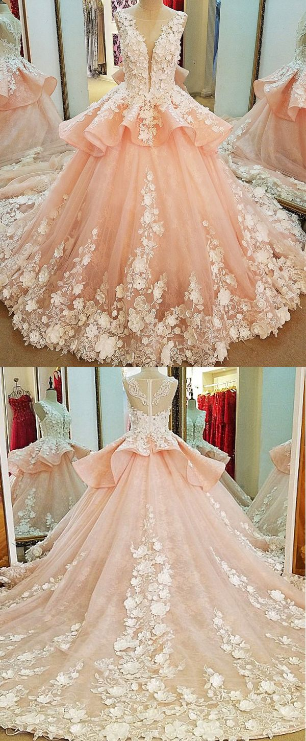 Fashionable Tulle & Lace Scoop Neckline Ball Gown Wedding Dress With Lace Appliques & 3D Flowers & Beadings