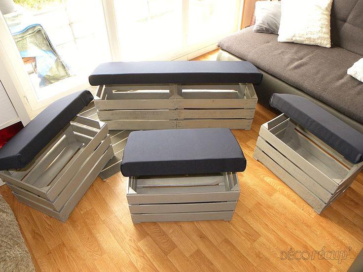 les 25 meilleures id es concernant pouf de caisse sur pinterest rangement fabriquer soi m me. Black Bedroom Furniture Sets. Home Design Ideas