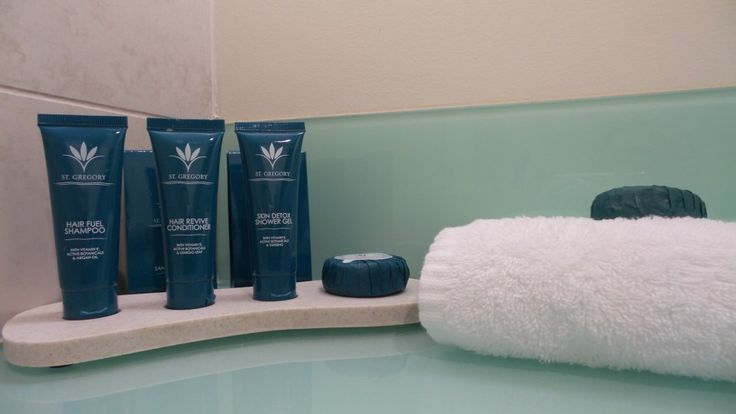 Bathroom Amenities in a Standard Room at the Parkroyal Melbourne Airport Hotel, Melbourne, Australia
