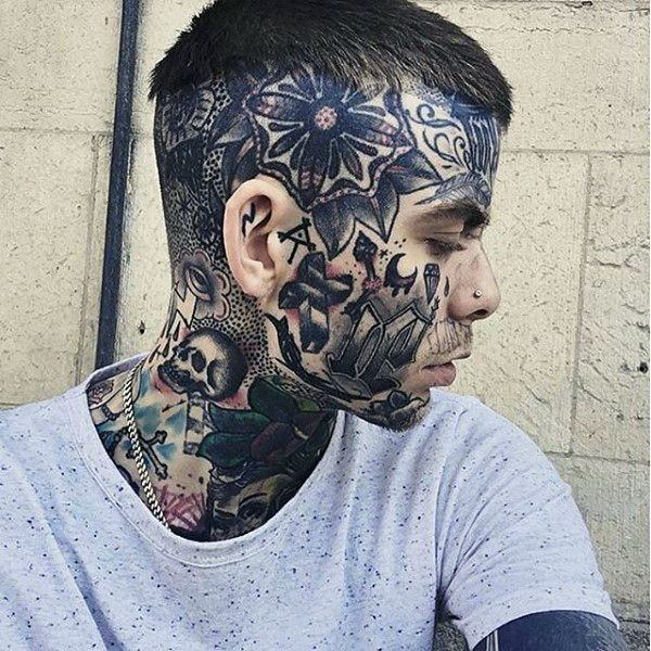 90 Face Tattoos For Men - Masculine Design Ideas | Face ...