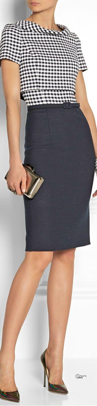 Oscar de la Renta SS 2014, Gingham wool-blend dress official-mk-mall.de.hm $61.99 michael kors bags, handbags,mk bags,