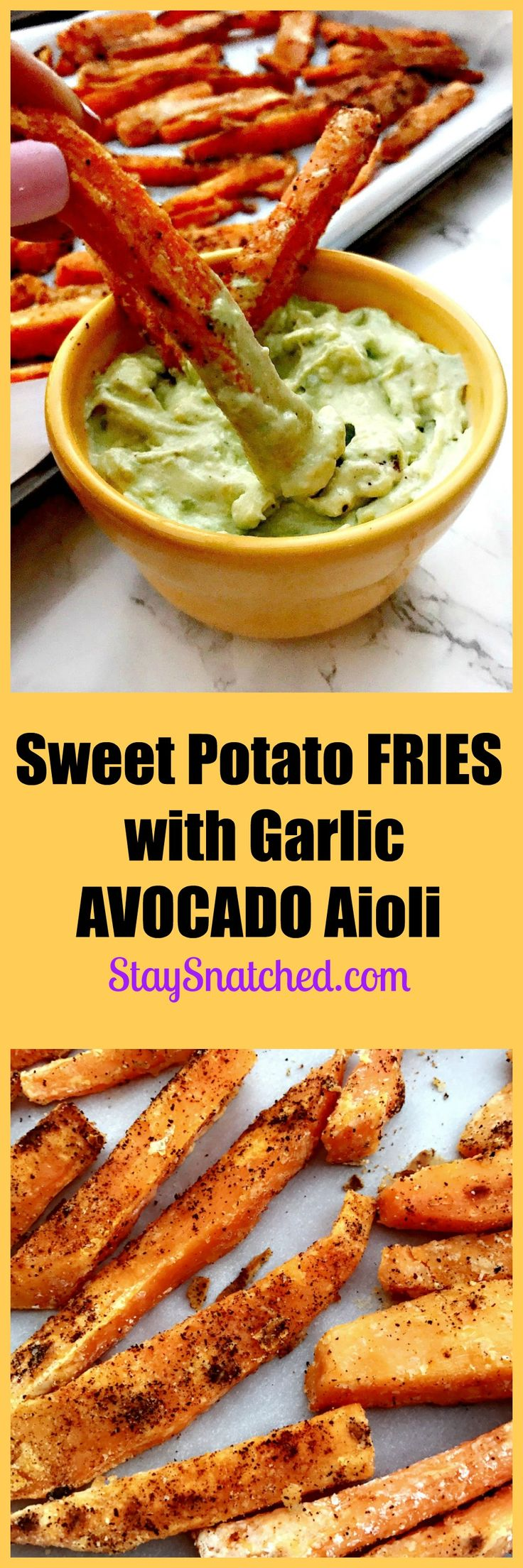 savory, crunchy sweet potato fries with creamy avocado garlic aioli sauce