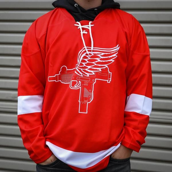 Detroit Uzis Hockey Jersey Red Streetwear Men Outfits Nba Fashion Jersey Outfit