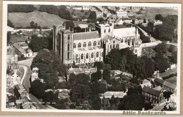 Vintage postcard of an aerial view of the cathedral in Ripon, Yorkshire, England.