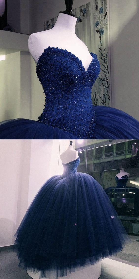 0cab6beb2a5 Fully Crystal Beaded Bodice Corset Royal Blue Wedding Dresses Ball ...