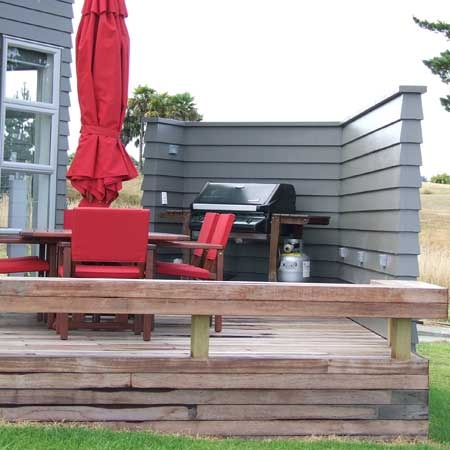 Wrap down with Kwila decking to ground