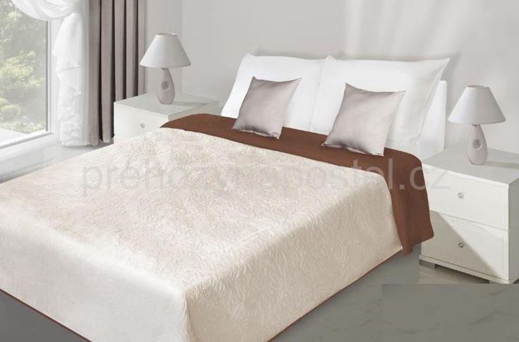 Bílo hnědé oboustranné přehozy na postel