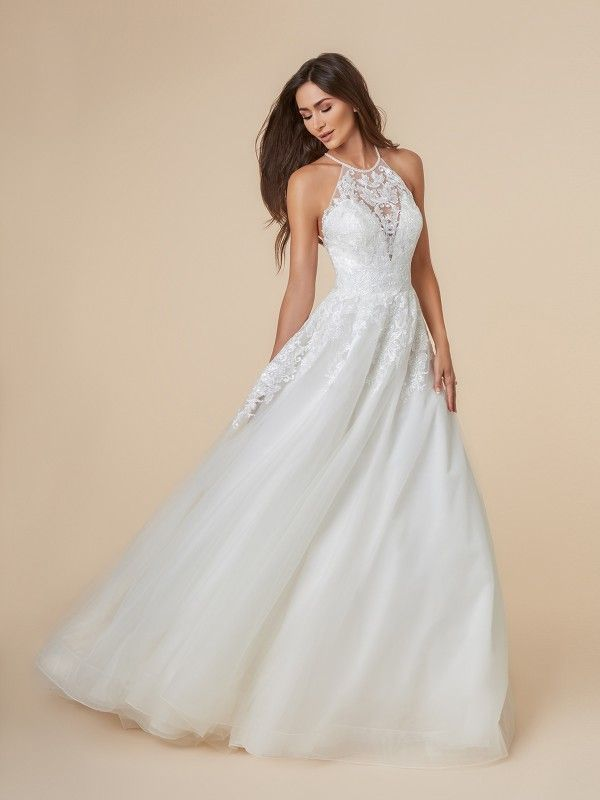 8cdaa05ba6037 Moonlight Tango T851 has a stunning lace halter top that will give any bride  the perfect high-fashion look. It's form-fitting bodice with a drop waist  will ...