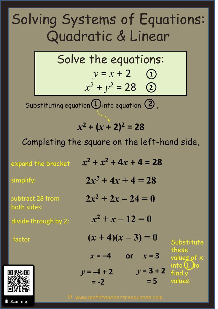 Systems Of Equations Solving Quadratic Linear Quadratics Math Methods Solving Equations