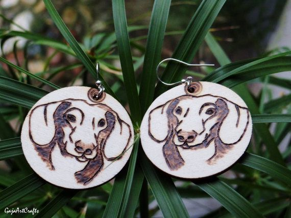Wooden dachshund portrait earrings natural by GajaArtCrafts