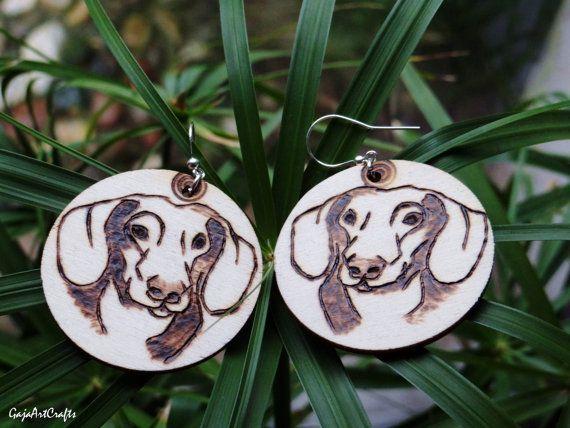 Wooden dachshund portrait earrings natural by GajaArtCrafts