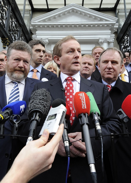 Fine Gael Leader Enda Kenny TD pictured speaking to the press surrounded by party members Sunday, January 30, 2011 at the launch of the party's General Election Campaign at the Mansion House, Dublin.