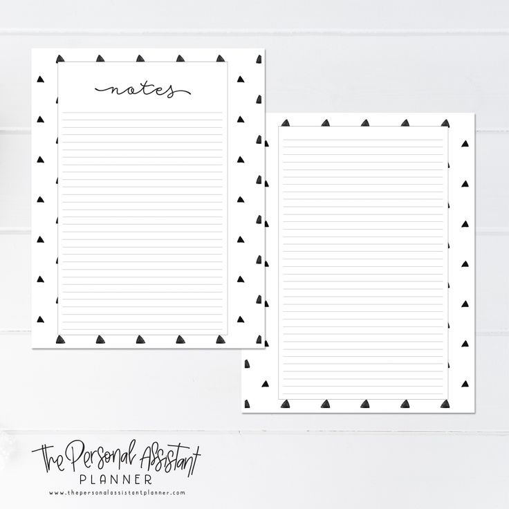 8.5x11 Notes Printable Planner Insert Pages - The Personal Assistant Business Planner