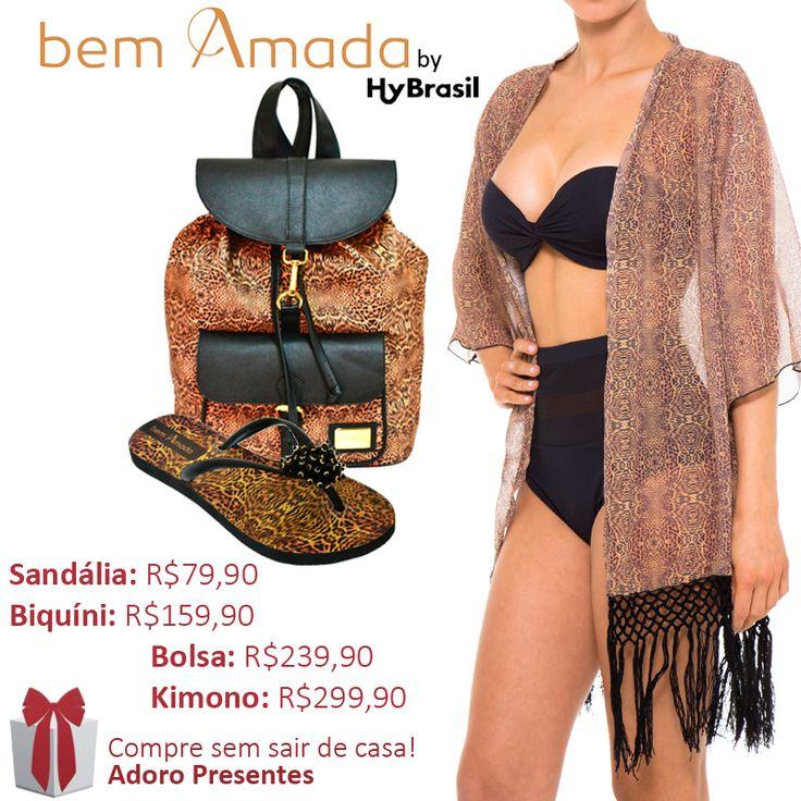 O Biquíni da Hy Brasil preto combina com qualquer estampa de Kimono. Você pode aproveitar e usar com vários acessórios. Olha como ficou de arrasar este Kimono, mochila e sandália de Leopardo no Biquíni cintura alta.  #BemAmada #Verão #2015 #AdoroPresentes #Moda #Mochila #Sandália #Biquíni #Kimono