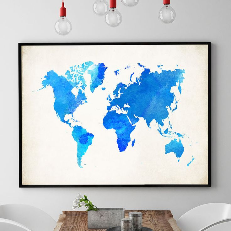 World Map Print, Blue Watercolour World Map Wall Art, Large World Map Decor, Nursery Wall Art, World Map Poster, Home Decor Wall Art (729) by PointDot on Etsy