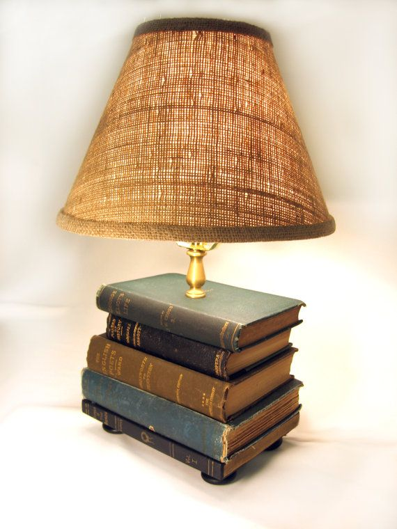 Book Lamp, Antique Upcycled Books, Burlap Lamp Shade