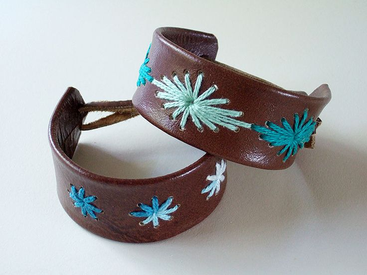 stitched leather bracelets, very cool!
