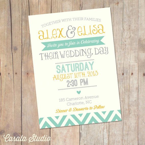 Summer Mint and Mustard Yellow Chevron Wedding Invitation Invite Printable OR Printed Card via Etsy