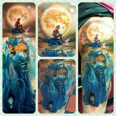 Little mermaid sleeve tattoo little mermaid pinterest for Little mermaid tattoo sleeve