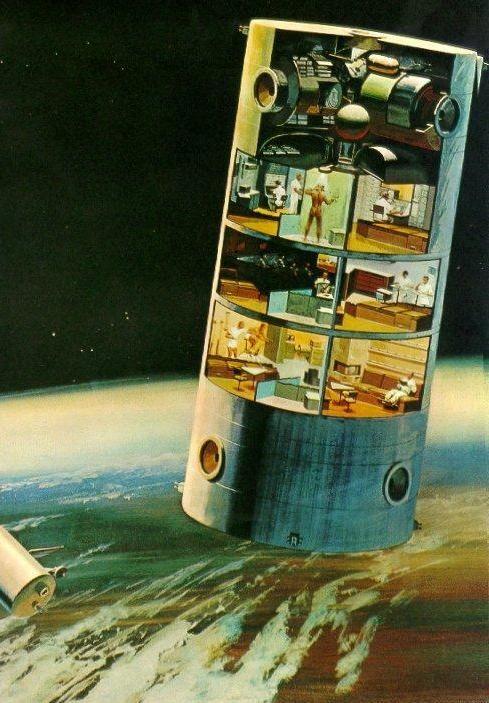 Dessin d'une maison futuriste gravitant autour d'une planète