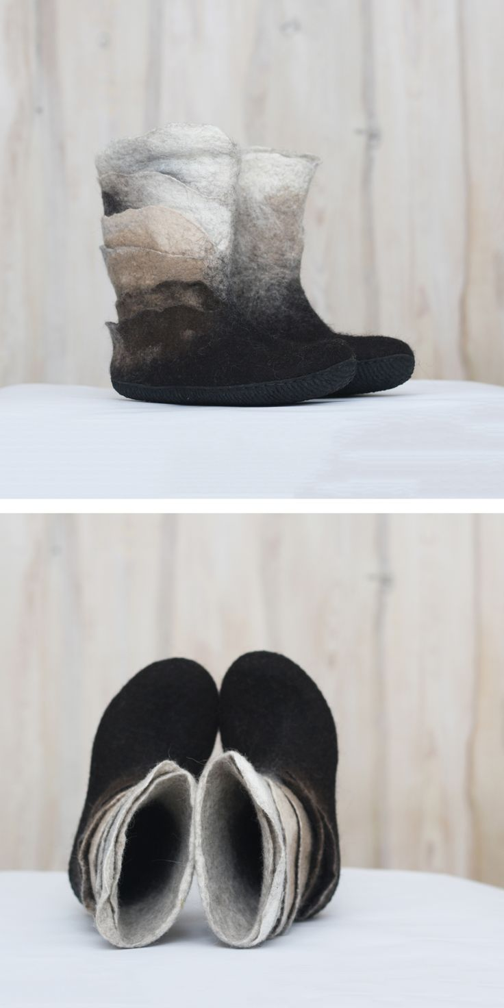 New design of felted booties. They can be found in our shop #feltedbooties