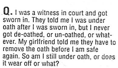 Oath wears off..