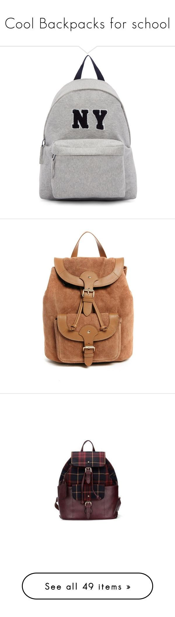 """""""Cool Backpacks for school"""" by fkbianka ❤ liked on Polyvore featuring bags, backpacks, backpack, bolsas, mochila, accessories, handle bag, grey backpack, rucksack bag and day pack backpack"""