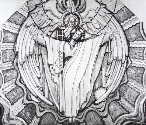 Charles Mauméjean, Trinité, 1933, carton nef st jean bosco paris,  archives des Chantiers du cardinal. Phot. Valérie Gaudard, insitu.revues.org