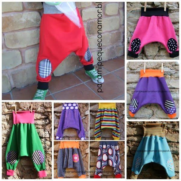 """Pantalones bombachos """"cagados"""". Tutorial y patrones varias tallas. Proyecto para principiantes."""