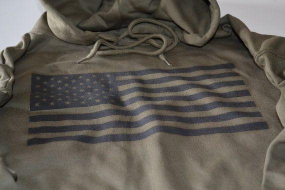 USA Flag Military American army marine hoodie US hooded sweatshirt star stripes black screen print sweater christmas gift men husband