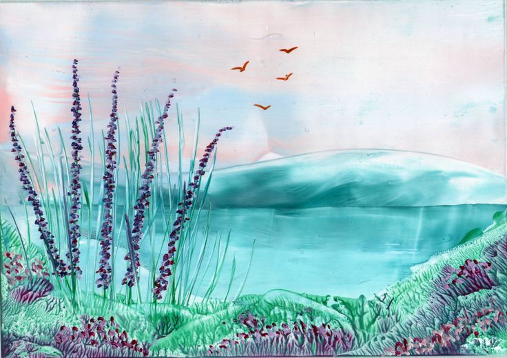 summer lake one of my encaustic art paintings - Sarah Andrews