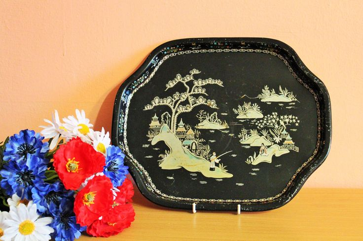 Vintage Asian Japanese Chinese Black Metal & Gold Hand Painted Serving Tray by Grandchildattic on Etsy
