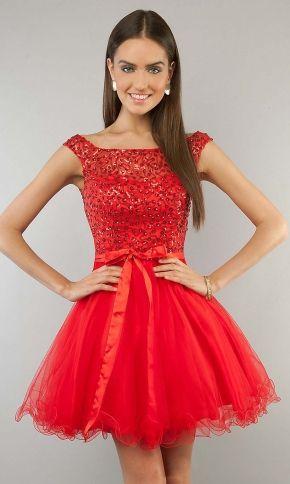 red prom dress, short prom dress, cap sleeve prom dress, cute prom dress