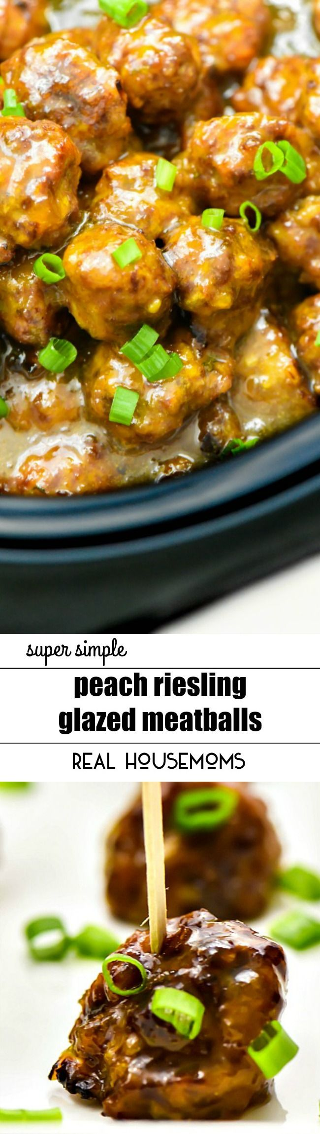 PEACH RIESLING GLAZED MEATBALLS are an easy party appetizer recipe! You could even serve these over rice for a tasty dinner on busy weeknights!