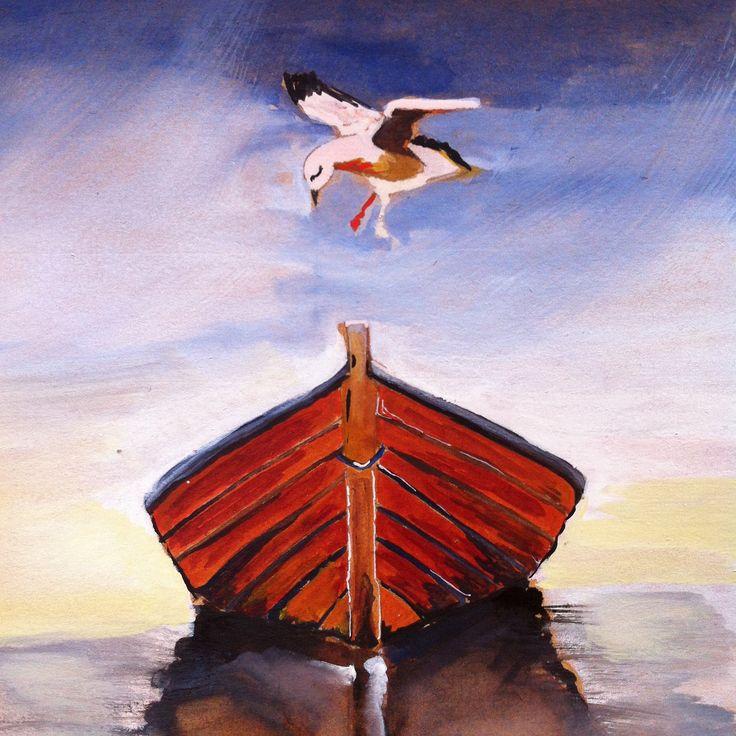 Meeuw en boot , tekening gemaakt door Grietje Drooglever www.fotootjevandaag.wordpress.com   Seagull and boat, drawing