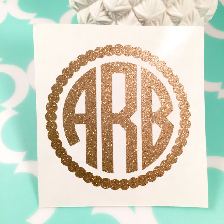 Glitter Personalized Circle Monogram Decal/Sticker, Car Decal, Laptop Decal, Monogram Decal, iPhone Decal, iPad Decal by TurqPineapple on Etsy