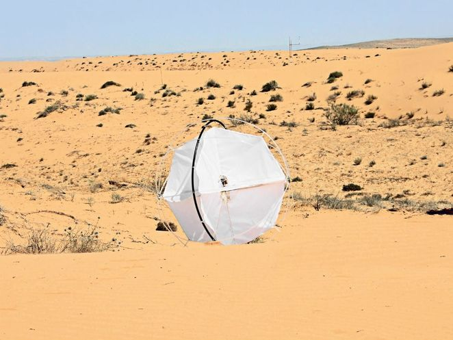 Autonomous robotic tumbleweed uses the power of the wind to travel the desert and gather data. Also perfect for that last stretch before the pub. www.zv2.co.uk