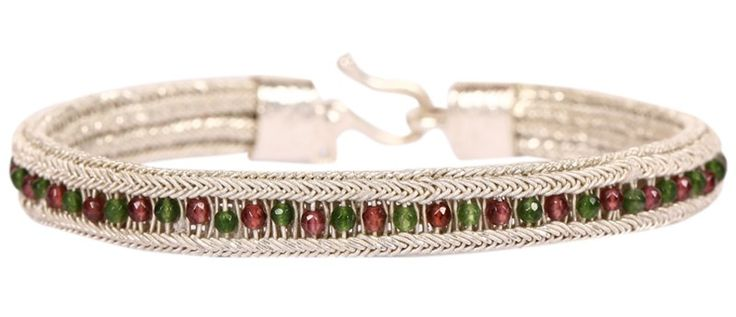 Kazaziye Silver Bracelet with Ruby and Emerald
