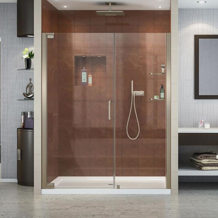 DreamLine Elegance 58 In To 60 In W Frameless Brushed Nickel Pivot Shower  Door