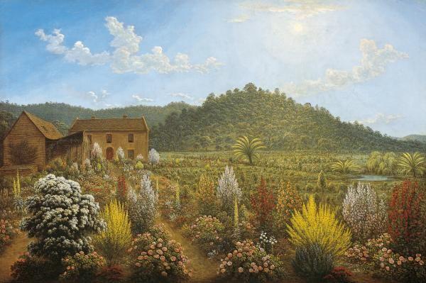 John GLOVER, British/Australian artist, (1767 - 1849)  'A view of the artist's house and garden, in Mills Plains, Van Diemen's Land', 1835.[Deddington, Tasmania]
