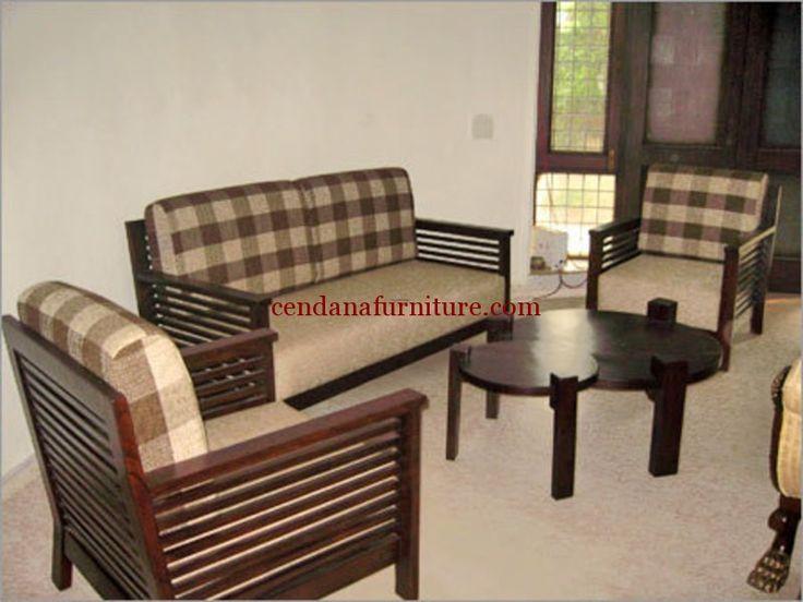 Set Kursi Tamu Sofa Kotak Kotak terbuat dari kayu jati berdesain minimalis terdapat busa tebal dengan kain jok kotak yg cantik mengisi ruang tamu rumah