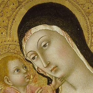 Sano di Pietro - Madonna dell'Umiltà, dettaglio - tempera su tavola - 1440-45 - Museo Civico e Diocesano d'Arte Sacra di Montalcino
