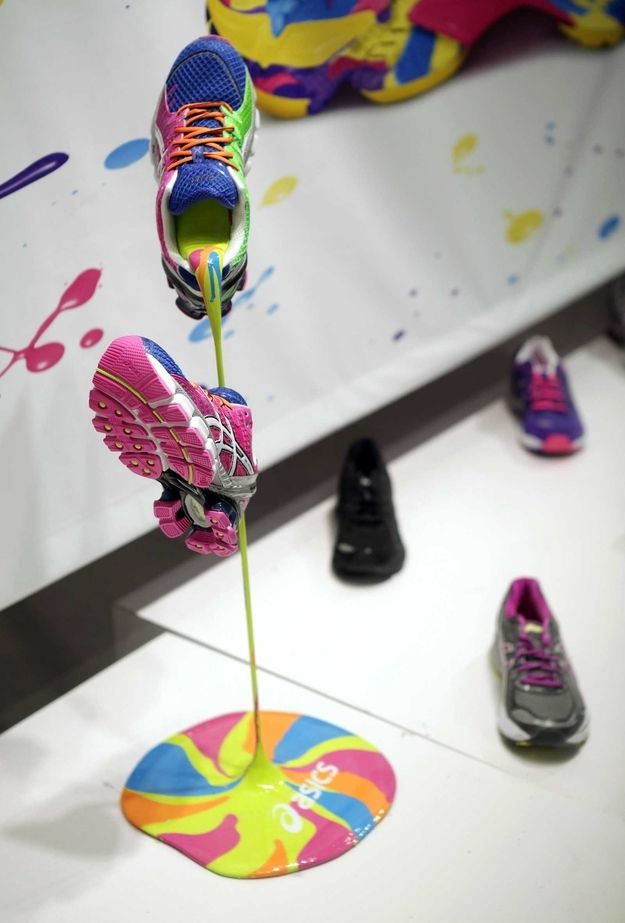Watch the colors pour from this shoe rack thingy. HOW DO THEY DO IT? Kudos, ASICS.