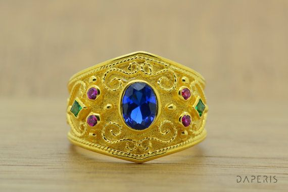 Bleu coupé naturel Sapphire étrusque anneau ovale 14K solide or /Byzantine or anneau rond Ruby, produit de qualité fait main de la princesse Emerald.High.