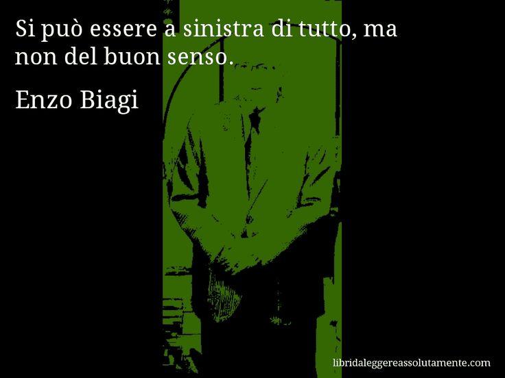 Aforisma di Enzo Biagi , Si può essere a sinistra di tutto, ma non del buon senso.