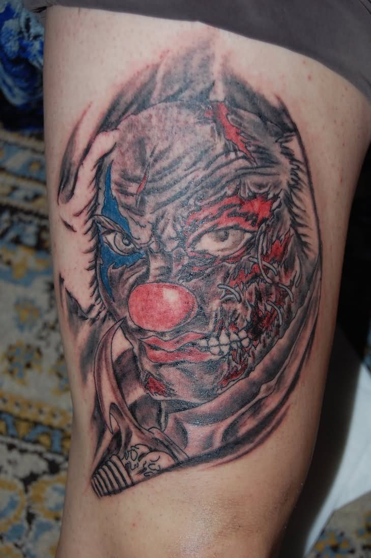 80 crazy and amazing tattoo designs for men and women desiznworld - 50 Cool Joker Tattoos For Guys See More Red Rose Clown Tattoo On Full Sleeve