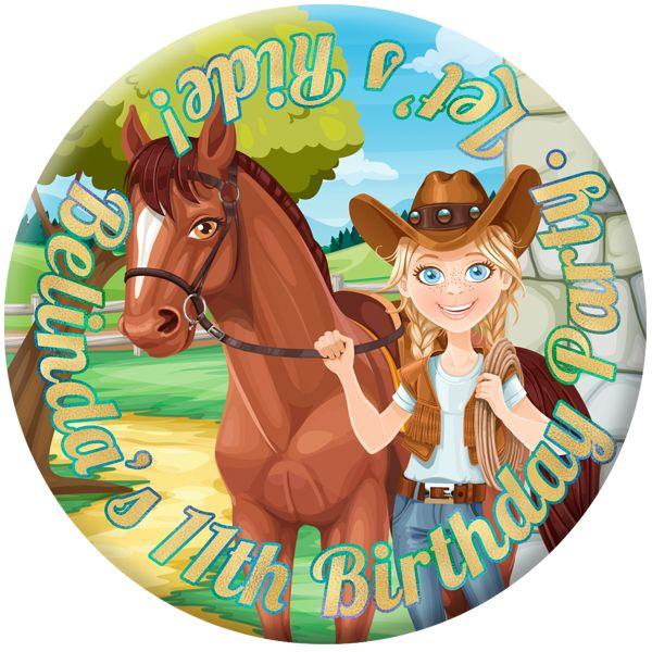 Horse / Pony Personalised Birthday Party Badge #921